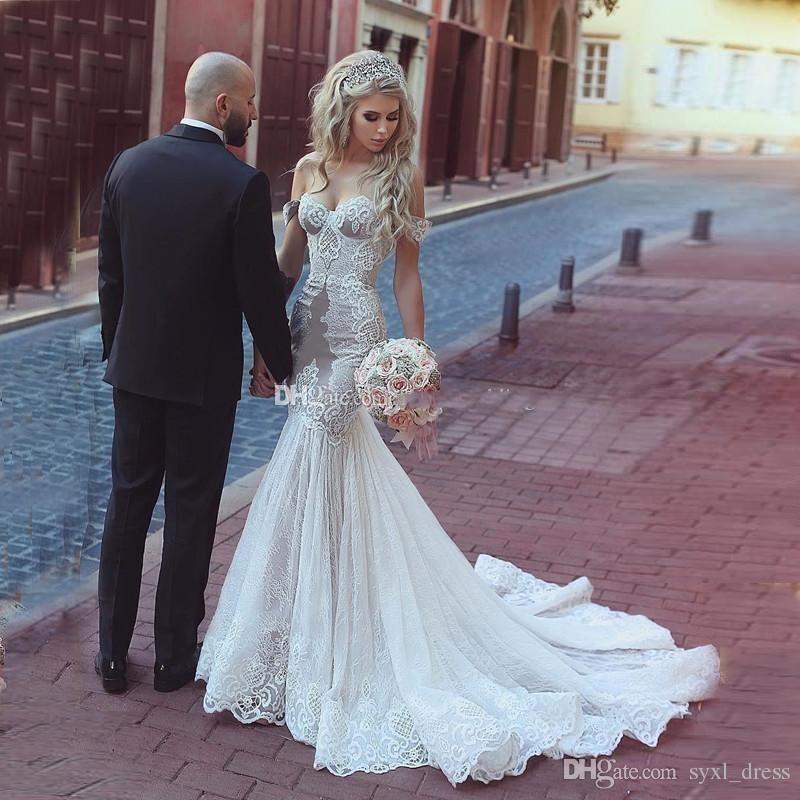 4a91a11bc6d3e 2019 Saudi Arabic Cheap Plus Size Mermaid Wedding Dresses Bridal Gowns Robe  De Mariée Bohemio Vestido De Novia Off The Shoulder Backless Corset Mermaid  ...