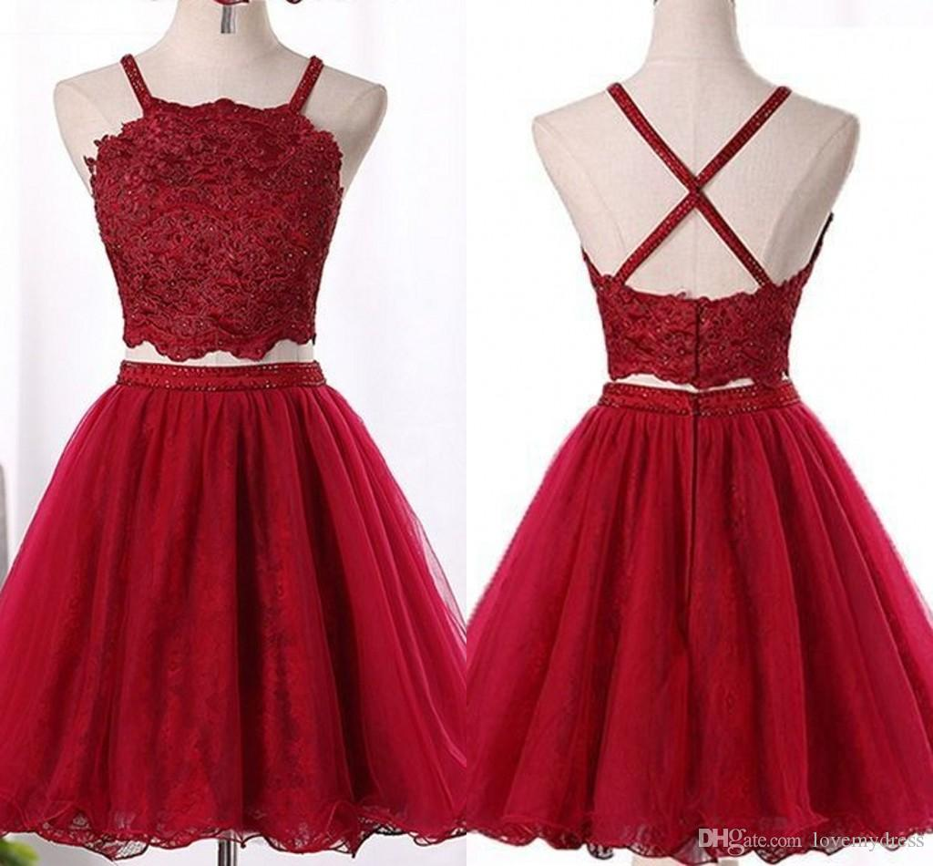 2278b7a83494e Wine Red 2019 Short Prom Dresses Halter Unique Backless Lace Beaded Crystal  Cutaway Side Homecoming Dress Cheap Graduation Gowns Juniors