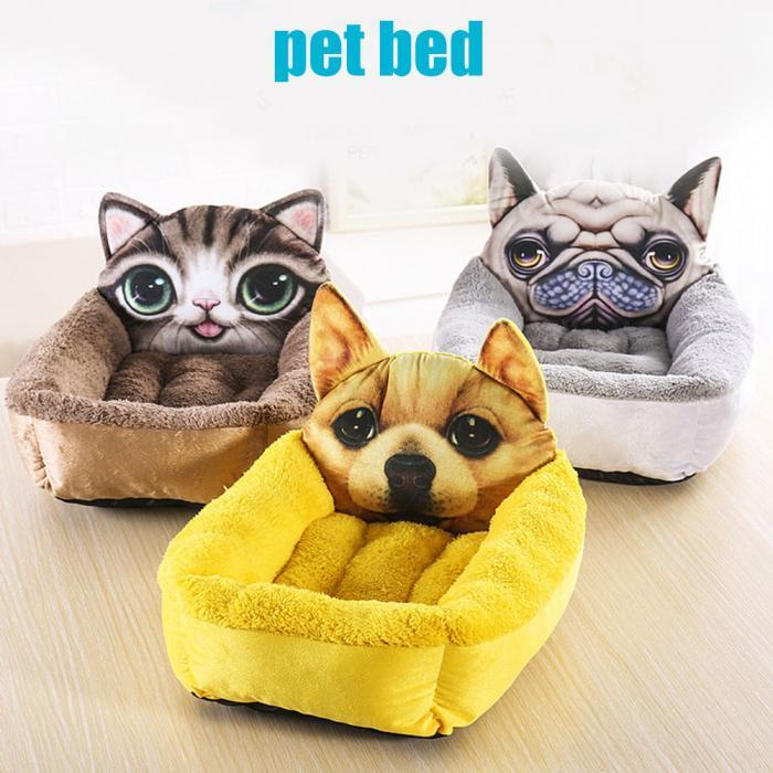 3D Realistic Pattern Pet Bed Dog Nest Soft Comfortable Cartoon Printed Warm Cats House Sleeping Bag Mat Pet Kennel Sofa Nest