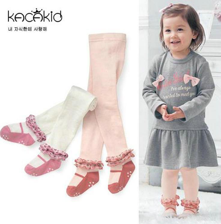 55f05a0b363801 1-5 T Novo Bebê Algodão Meia-calça Infantil Menina Shoe Estilo Rendas  Meia-calça Crianças Criança Meia Calças Justas Crianças Meninas Vestem ...