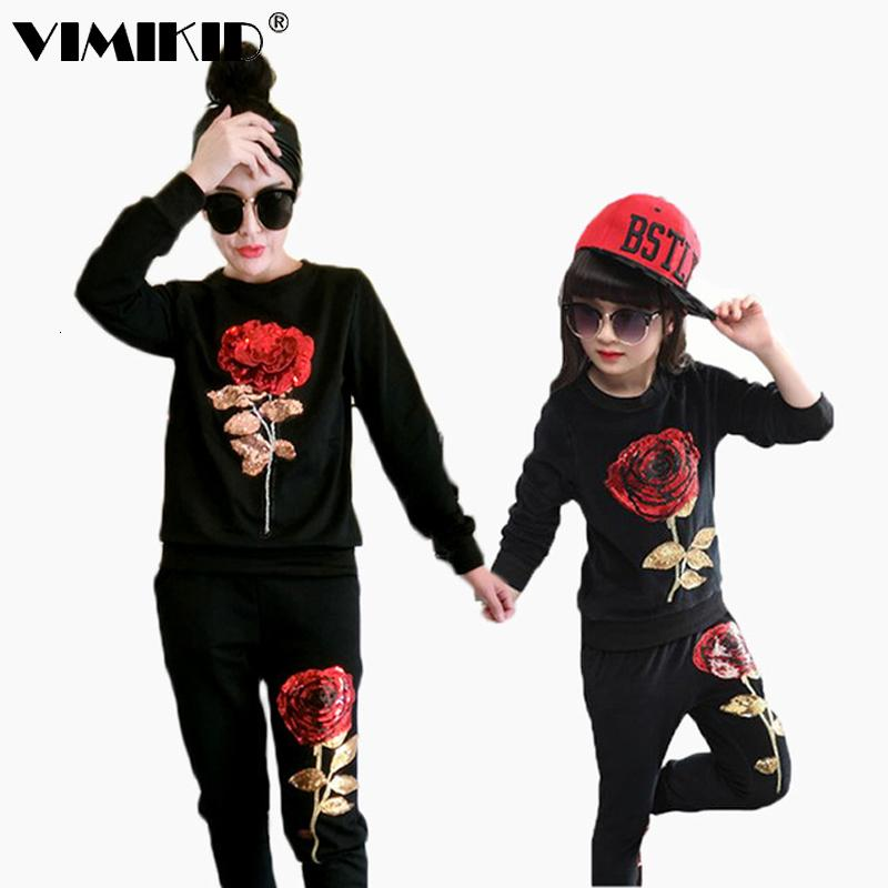 New Winter Style Family Matching Outfits Mother And Daughter Long Sleeve Rose Floral Sweatshirt+Pants 2Pcs Suit k1MX190919