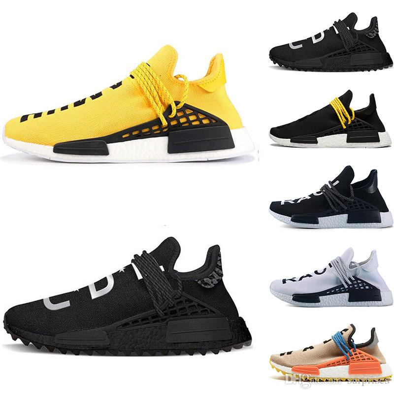 new arrival e8c4f d7c9e Hot designer Human Race Hu trail pharrell williams running shoes Nerd black  cream Holi trainers mens women sports runner sneaker size 36-47