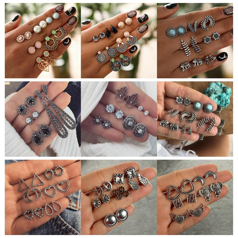 Fashion Bohemian Gothic Stud Earrings For Women Vintage Ethnic Crystal Round Leaf Earring Studs Jewelry Simulated Pearl Earring