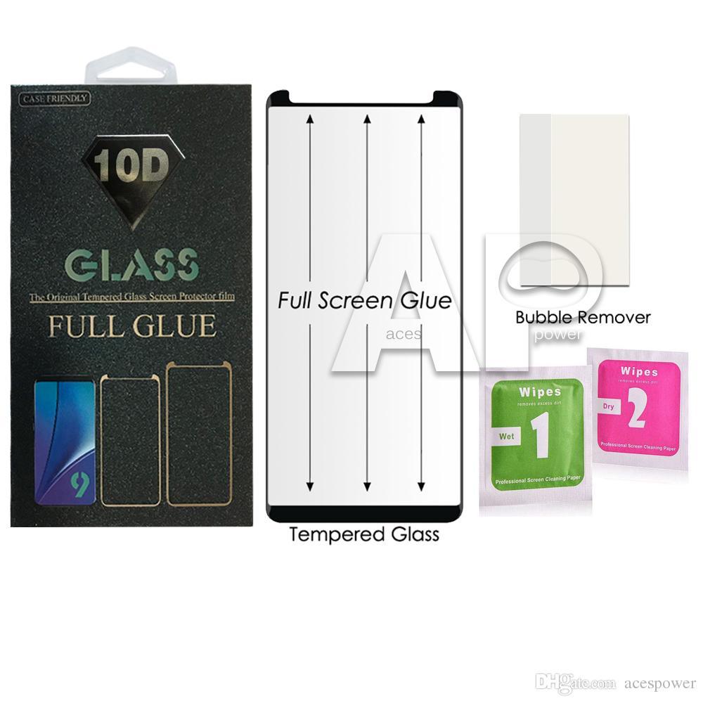 شاشة كاملة الغراء حالة دية الزجاج المقسى حامي للحصول على سامسونج غالاكسي S10 S9 S8 ملاحظة 9 10 زائد مع حزمة البيع بالتجزئة