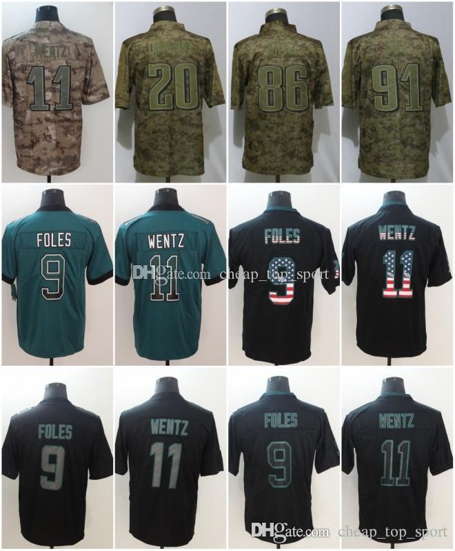 online store 61f51 21896 Zach 86 Ertz Philadelphia Jerseys Carson 11 Wentz Eagles 2018 USA Flag  Lights out Black Rush Drift Camo Salute to Service Olive Limited