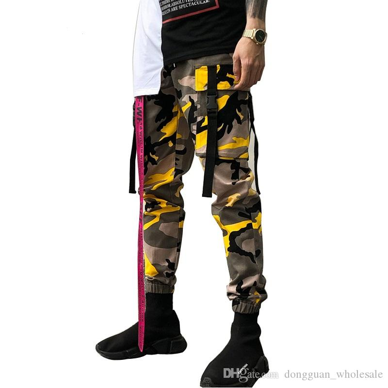ea77130dad60 2019 New Men Orange Army Green Black White Purple Ribbon Military  Camouflage Slim Joggers Cargo Pants Streetwear Hip Hop Sweatpants From  Dongguan wholesale