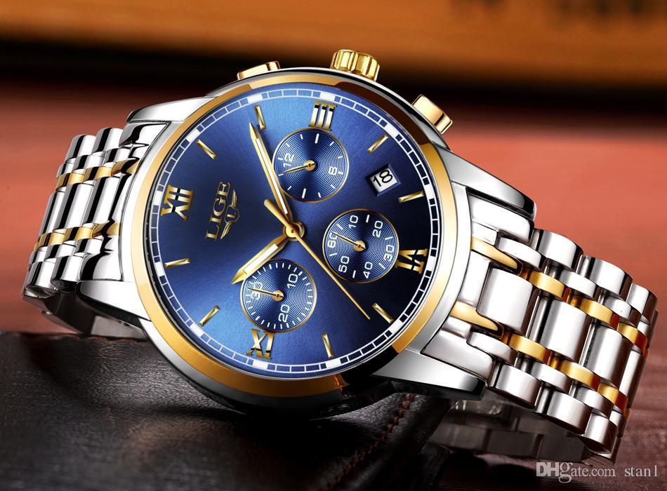 c8aece0510bb Compre 2019 LIGE Relojes Hombres Marca De Lujo Cronógrafo Hombres Relojes  Deportivos Reloj De Cuarzo De Acero A Prueba De Agua Hombre Hombre Reloj De  Oro ...