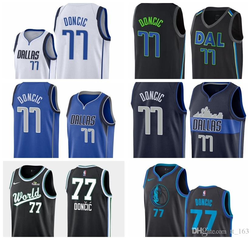 reputable site 6f1cc a778b 2018-2019 HOT Dallas Mavericks Jersey para hombre Swingman Basketball  Jersey 77 Luka Doncics