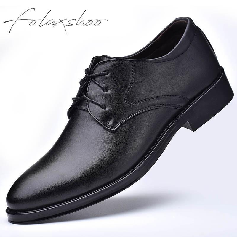 cb458f6e002 Compre Folaxshoo Básico Con Cordones De Primavera Otoño Para Hombre Zapatos  Casuales Hombres Zapatos Planos De Cuero De La PU Mocasines Respirables  Para ...