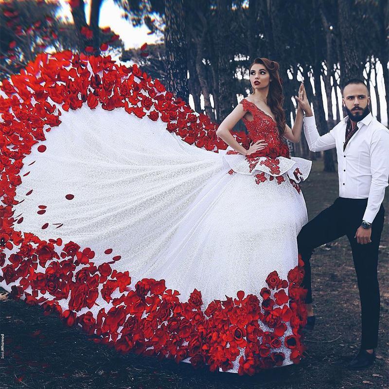 compre 2019 flores rojas una línea dijo mhamad vestidos de novia