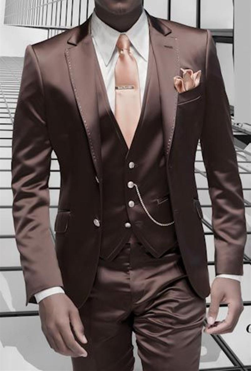 a0bc5a7ce9 Brown Satin Custom Stylish 3 Piece Blazer Masculino Suits Men Suit Formal  Italian Design Tuxedo (Jacket+Pants+Vest+Tie)