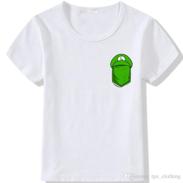 ed0c79186 Luigi T Shirt Super Mario Pocket Short Sleeve Tops Green Hat Unisex  Fastness Tees Colorfast Print Clothing Pure Color Modal Tshirt UK 2019 From  Tpx_clothing ...
