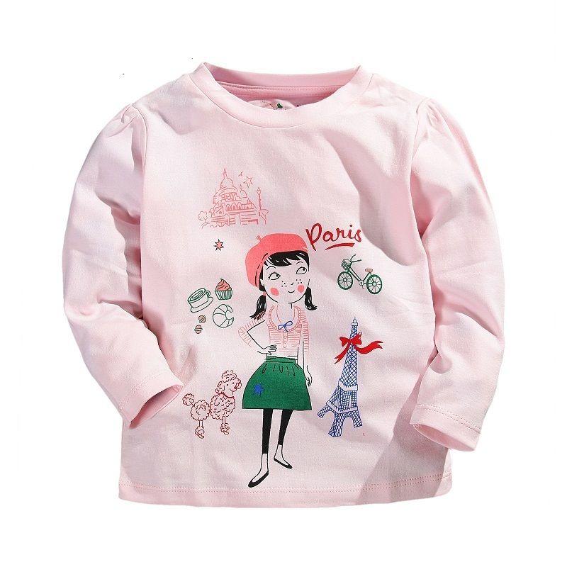 b7ffdfd6c759 Spring Summer Children Girls T-shirt Cartoon 100% Cotton Long-sleeve ...