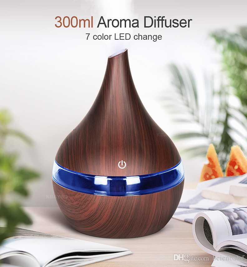 300ml USB Electric Aroma air diffuser wood Ultrasonic air humidifier Essential oil Aromatherapy cool mist maker for car home