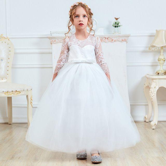 564dee6c119d Acquista My Princess Fancy Bambini Damigella D onore Lungo Pizzo Ragazze  Vestono La Cerimonia Nuziale Pageant Partito Comunione Teen Girl Vestiti  Abiti ...