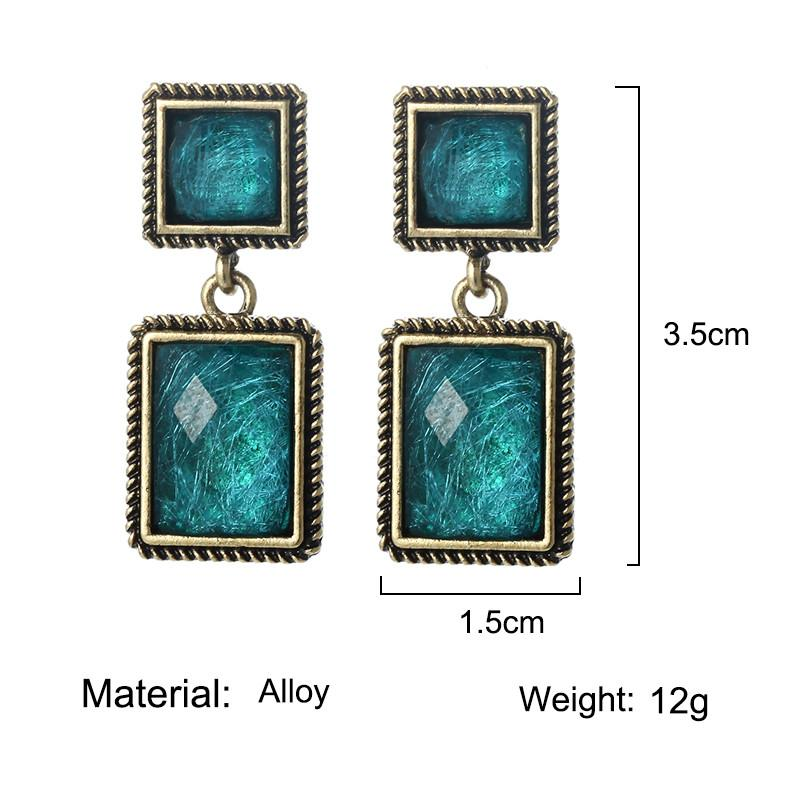 Mode Vintage Antique d'or géométrique Boucles d'oreilles à Boucles d'oreilles ethniques pour les femmes de Bohême Bijoux Boho vert cristal Brincos