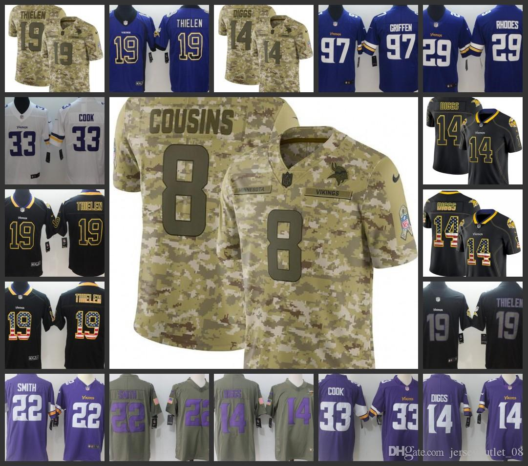big sale 1609b 4b5a0 Minnesota Men Vikings Jersey #8 Kirk Cousins 14 Stefon Diggs 19 Adam  Thielen 22 Harrison Smith 33 Dalvin Cook Women Youth Football Jerseys