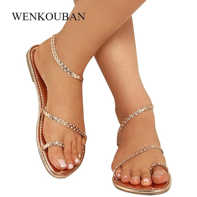 38e226fe2c0d Women Thong Sandals Female Summer Flip Flops Weaving Casual Beach Flat With  Shoes Rome Style Gladiator Sandal Low Heels Wedding Sandals Walking Sandals  From ...