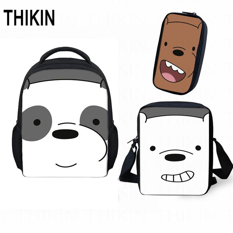 THIKIN Children Baby Daily Bag Cute Cartoon Grizzly Panda Ice Bear Small Backpack for Kids Kindergarten School Bag