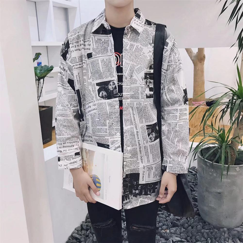 Cotton Blend Casual Tops Long Sleeve Fashion Newspaper Printing Boy Splicing Square Neck Men Shirts Male Clothes Spring Slim Fit