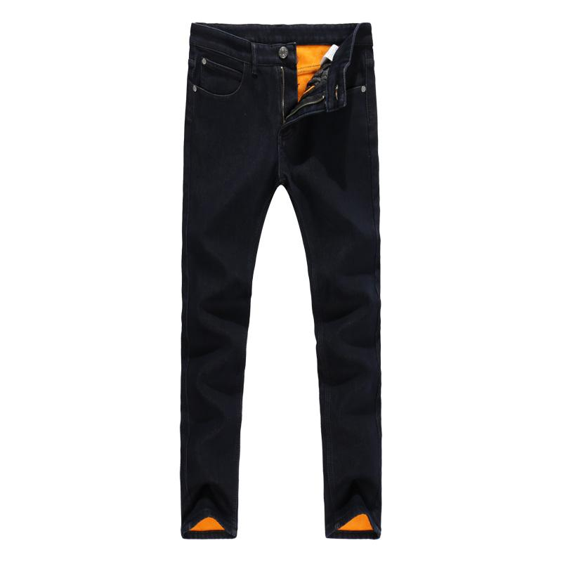 Compre 2019New Winter Jeans Hombres Color Negro Slim Fit Stretch Pantalones  De Terciopelo Grueso Warm Jeans Para Hombres Moda Casual Fleece Pantalones  ... 08a17a9c90b