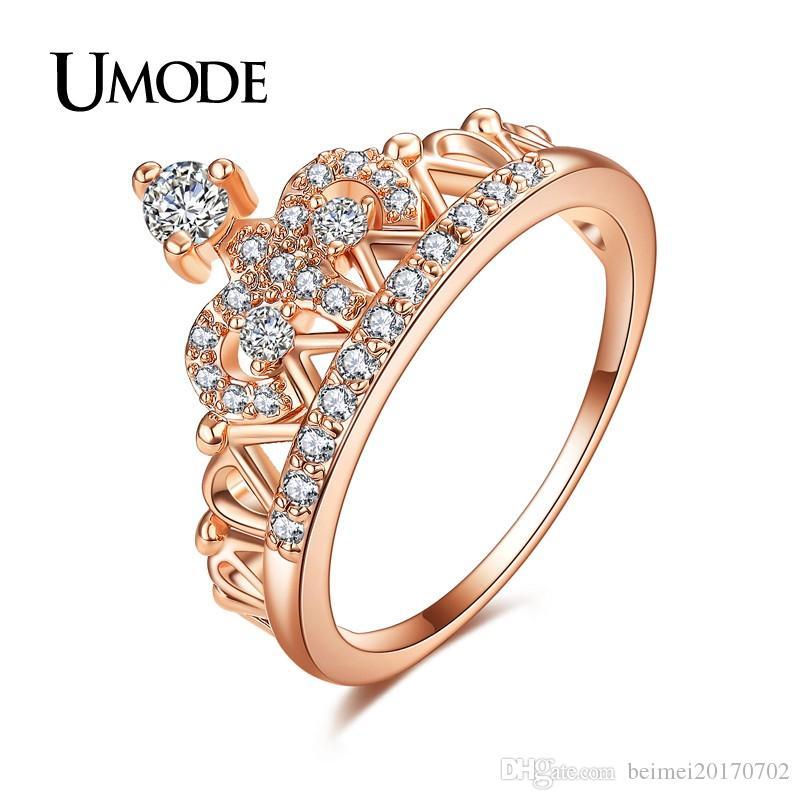 d7f20d3add93 Compre UMODE Exquisito Anillo De Corona En Forma De Oro Rosa Color Anillos  CZ Para Mujeres Moda Color Aneis De Ouro Zirconia Joyería UR0217 A  1.94  Del ...