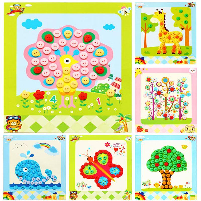 2019 Craft Toys Children Diy Button Stickers Toys Handmade Button