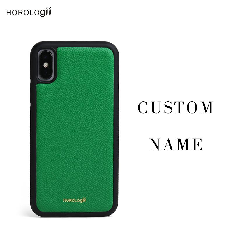 new product 6a00a 958df wholesale CUSTOM INITIALS FREE phone bumper case for Iphone X 7 plus Real  cow leather mobile phone accessories dropship service
