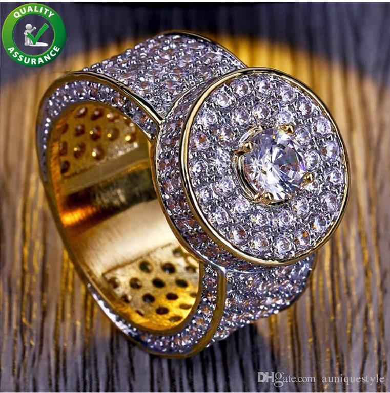 c7d9f7d0edf14 Hip Hop Jewelry Mens Gold Rings Luxury Designer Iced Out CZ Diamond Ring  Bling Band Pinky Finger Ring for Men Engagement Wedding Accessories