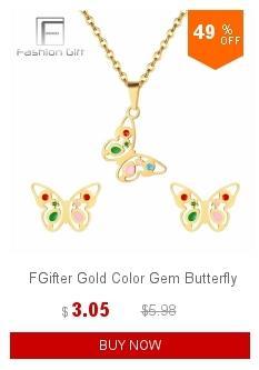 FGifter Altın Kelebek Saplama Küpe Kolye Takı Setleri Kızlar Çocuklar için Paslanmaz Çelik Takı Çocuklar Hediyeler Toptan