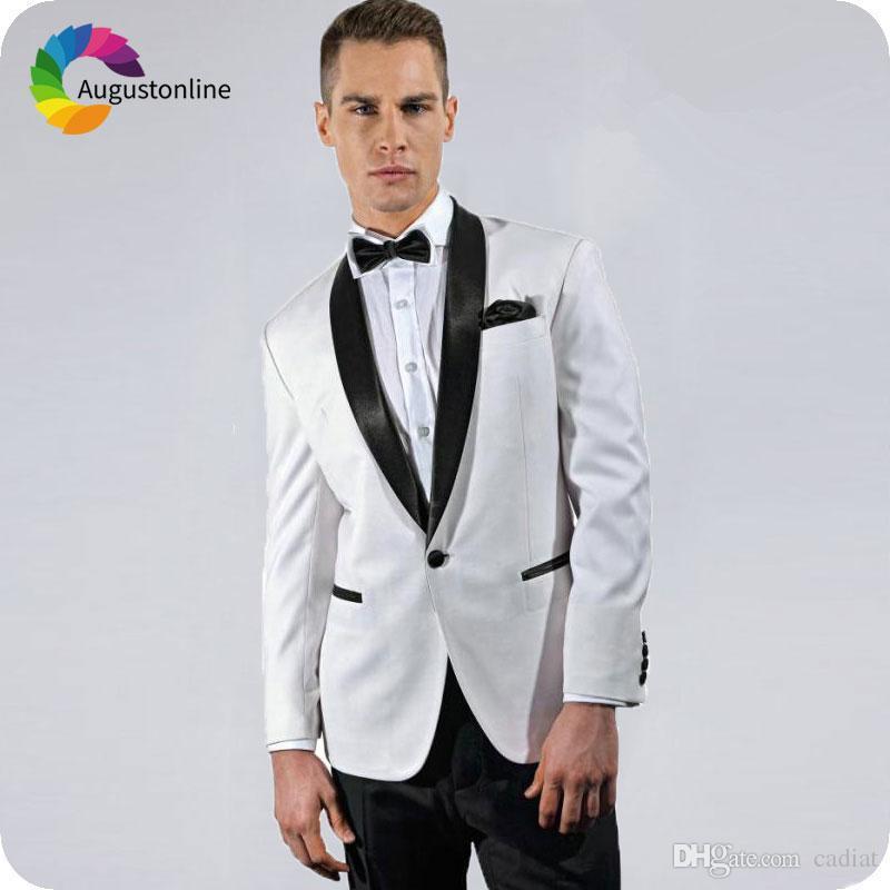 Compre Últimos Diseños De Pantalón De Abrigo Vestidos De Hombre De Esmoquin  De Novio Blanco Para La Boda Negro Shawl Lapel Slim Fit Mejor Traje De  Hombre ... 0cb3034259d