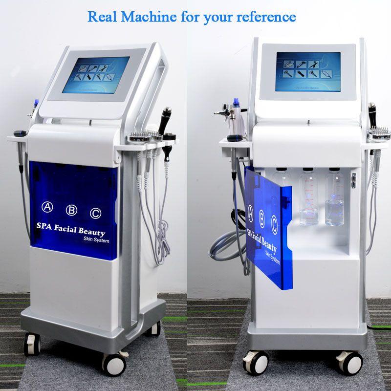 9 in1 HydraFacial dermoabrasión piel de cristal de limpieza de la máquina de microdermoabrasión diamante BIO cara de elevación ultrasonido escáner rejuvenecimiento de la piel