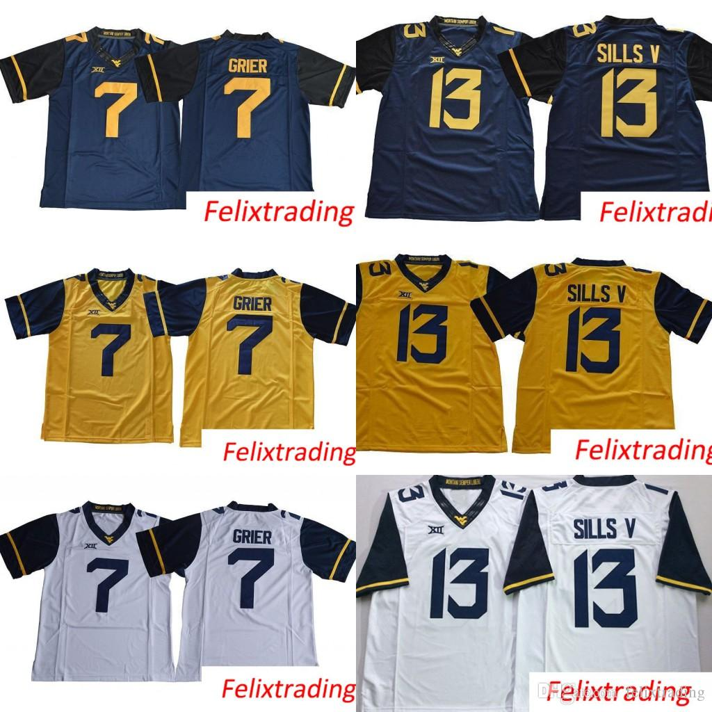 2019 7 Will Grier 13 David Sills V West Virginia Mountaineers WVU Blank  White Blue Yellow Stitched XII College Football Jerseys From Felixtrading 6f3928c1d
