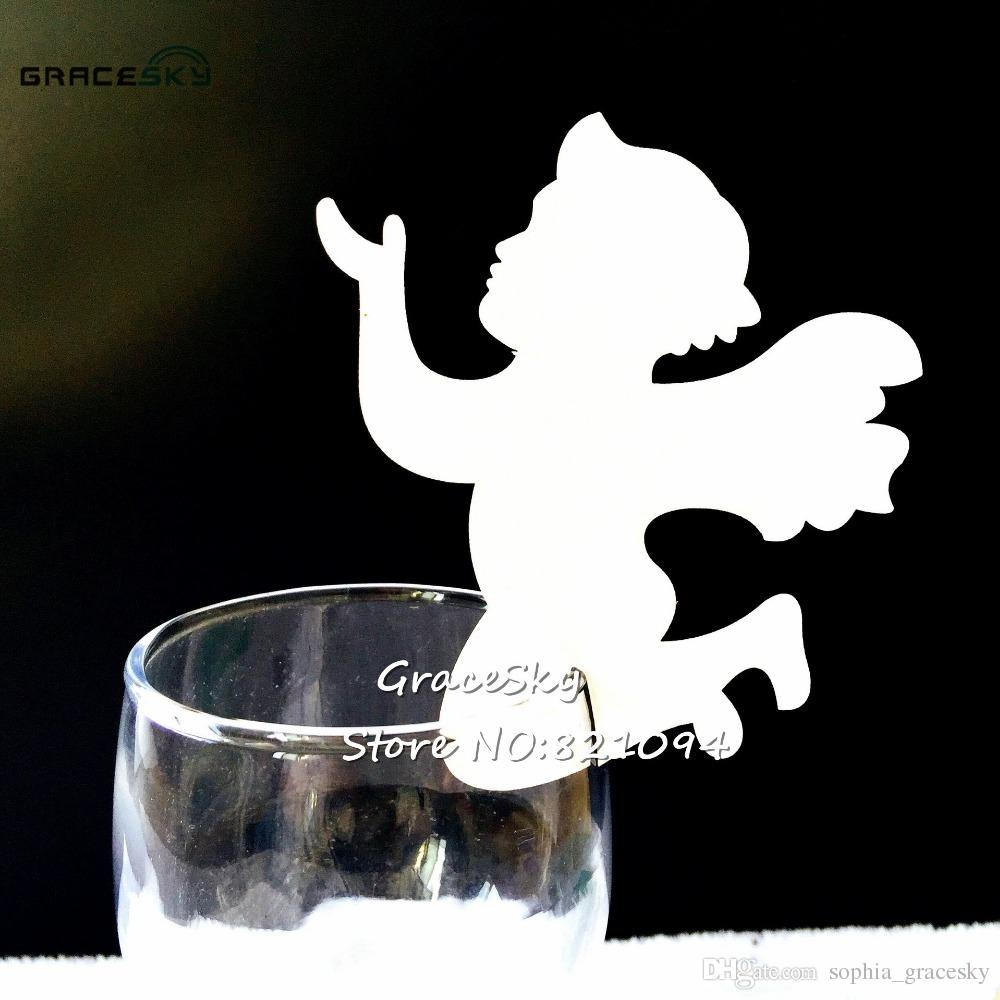 50pcs/lot Free Shipping laser Cut Pearlescent Cherub Design Baby shower Wedding Party Name Place Card Seat Invitation Cup Card of Wine Glass