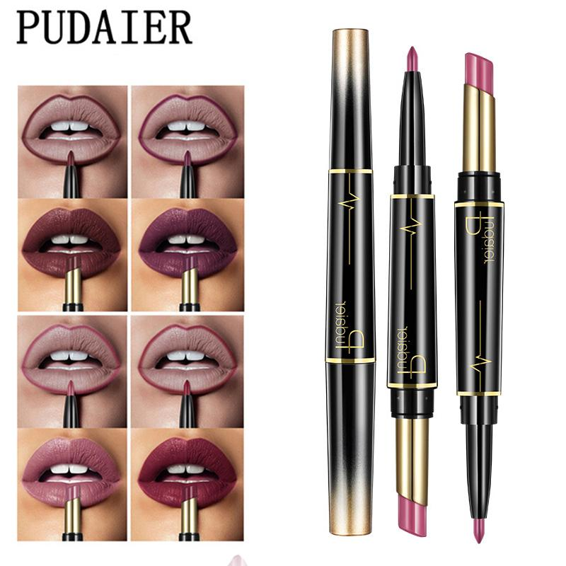Pudaier Double Ended Nude Matte Lipstick + Lip Liner Set Wateproof Long Lasting Makeup Lips Stick Lipliner Pencil Cosmetics