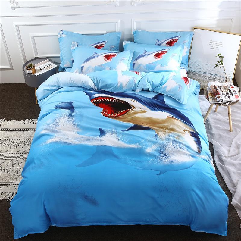 Lenzuola Matrimoniali In 3d.3pcs Set Set Lenzuola Copripiumino Blu Shark Dolphin Ocean 3d Completo Copripiumino Matrimoniale Completo Matrimoniale Queen
