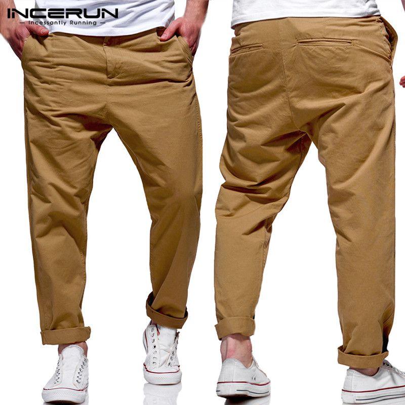 Compre Moda Vestirse Formalmente Hombres Pantalones Vestir Chinos Oficina  Pantalones Sólidos Hombre Pantalones Largos Sueltos Fitness Joggers Pantalon  ... eb7552b98b0