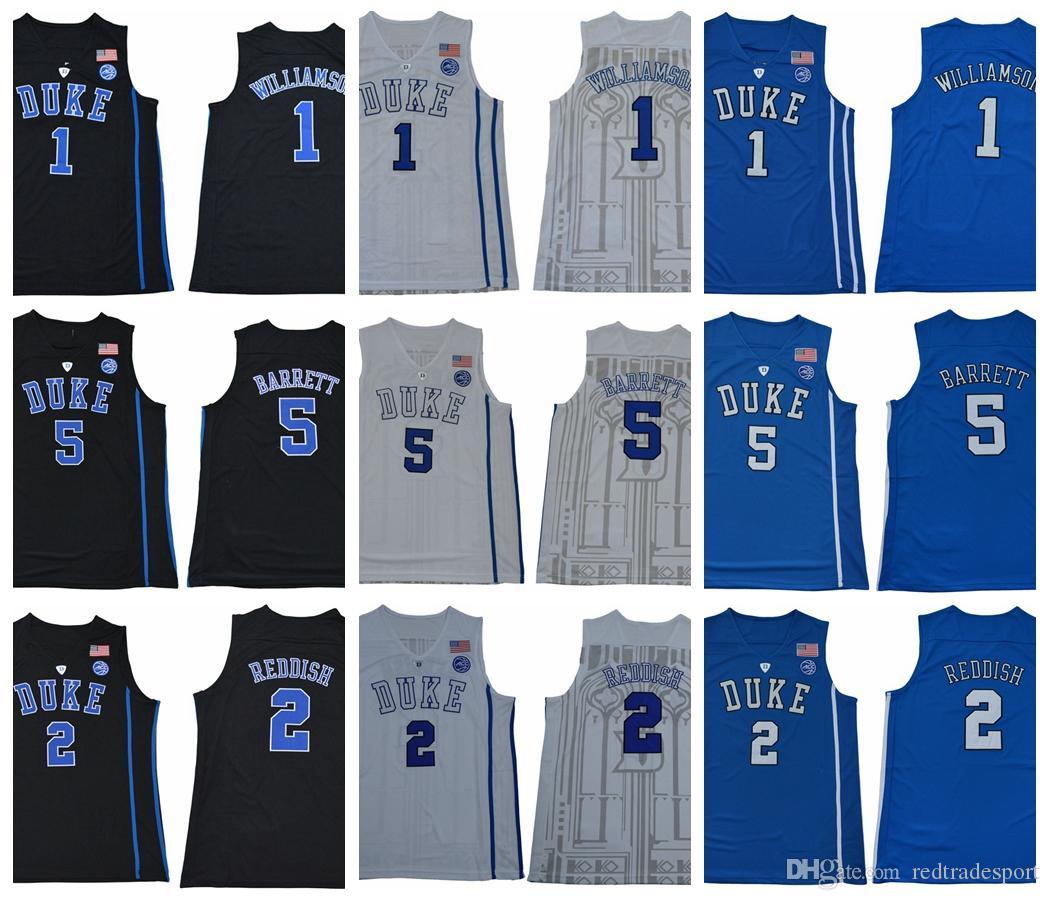 2d59f27e6ca6 2019 Mens Duke Blue Devils 1 Zion Williamson 2 Cam Reddish 5 R. J. Barrett  RJ Barrett New Black College Basketball Jerseys Zion Williamson From ...