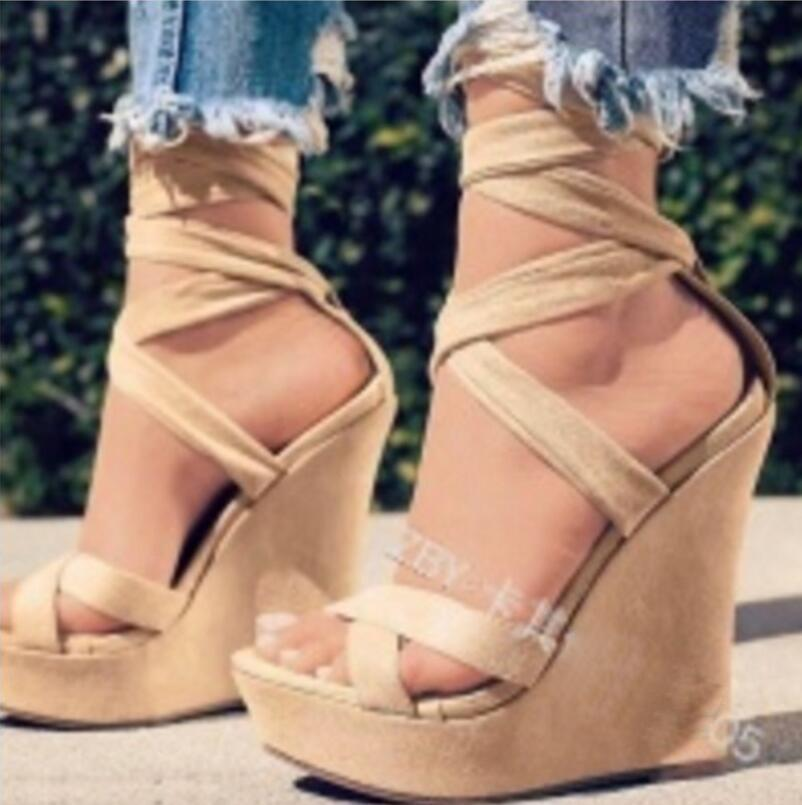 61806a4c477 Pop 2019 Woman Chaussure Wedge High Heels Platform Women Sexy Sandals Pump  Peep Toe Cross Tied Zapatos Mujer Ladies Lace Up Shoes Shoes Uk Flat Sandals  From ...
