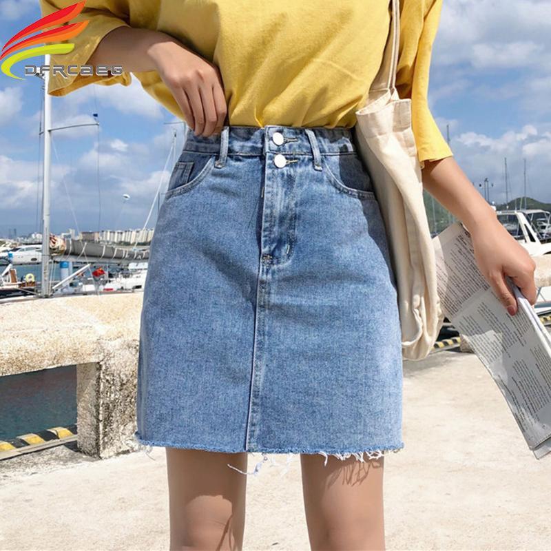 a462fbb4f Falda de mezclilla Mujeres Verano Azul Sólido Casual Cintura alta Una línea  Faldas de mezclilla Bolsillos de High Street Botón Falda de jeans ...
