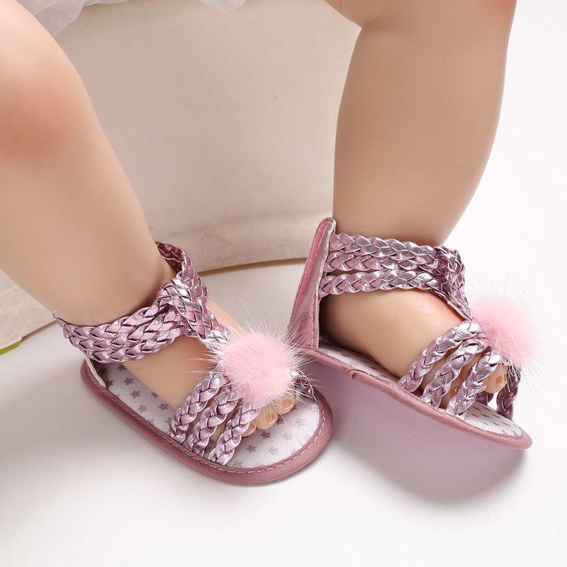 c5bd839e30 Princess Newborn Summer Baby Girl Fur Ball PU Sandals For Kids Flat Walking  Shoes