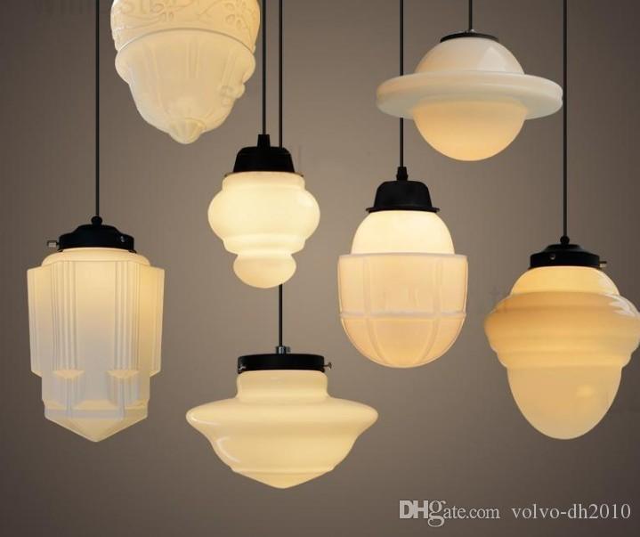 Art Deco Vintage Milk Glass Pendant Lamp White Glass Pendant Light Northern Europe Suspension Lighting Nordic Light Dinning Room Shop Llfa
