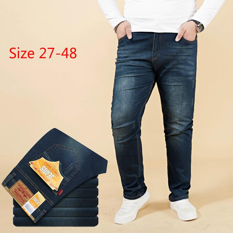 63d7b21303 Large Size 27-48 BrandQualityMen's Jeans Classic Straight Fit Stretch Denim  Jeans Casual Blue Black Trousers Stretch Long Pants