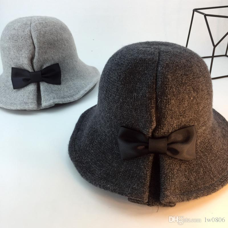 089b3c9c2b0b1 European And American Wind Foldable Autumn And Winter Bow Hat Retro ...