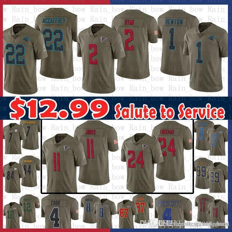 fedc73e71 2019 Sale 22 Christian McCaffrey 1 Cam Newton 2 Matt Ryan Atlanta Falcons  Jersey 11 Julio Jones Freeman Carolina Panthers 2017 Salute To Service From  ...