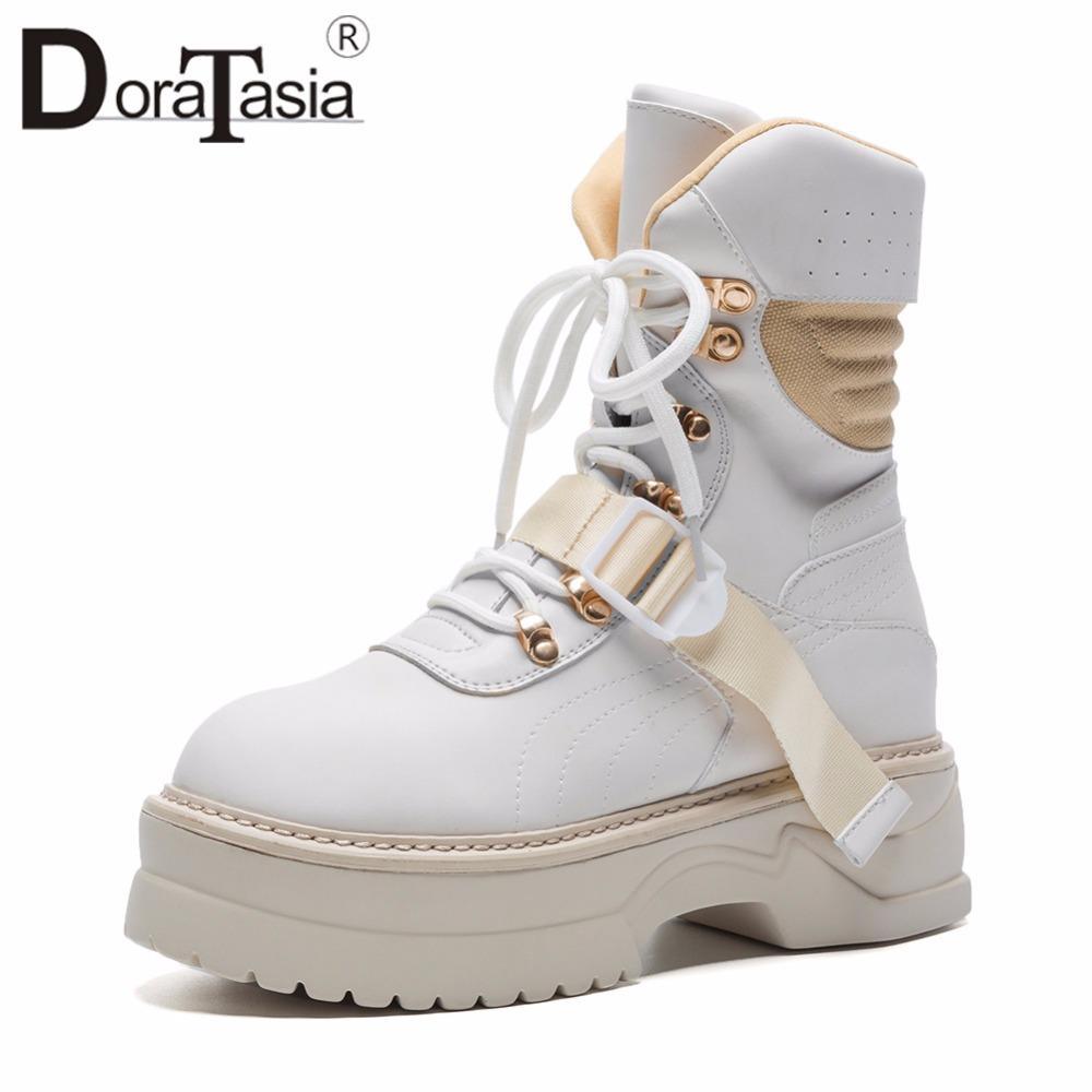 DoraTasia 2018 Herbst Große Größe 35 42 Marke Design Coole Plattform Stiefeletten Frauen Nähen lace up Mädchen Flache Schuhe Frau