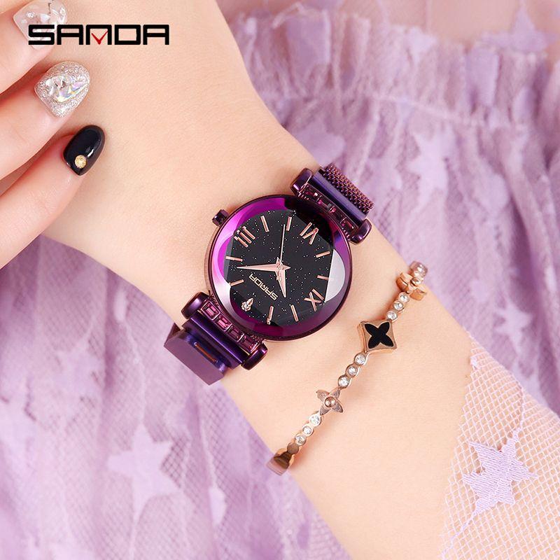 b34a35f832a Compre SANDA Céu Estrelado Mulheres Relógios Senhoras Relógio De Quartzo De  Aço Inoxidável À Prova D  Água Relógios De Pulso Magnético De Jutie
