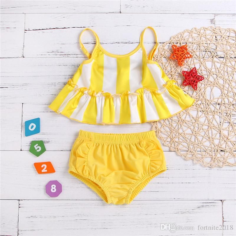 Baby Split Swimsuit Infant Summer Two Pieces Swimwear Baby Girl Yellow Bathing Suit Infant Two Pieces Yellow Swimsuits