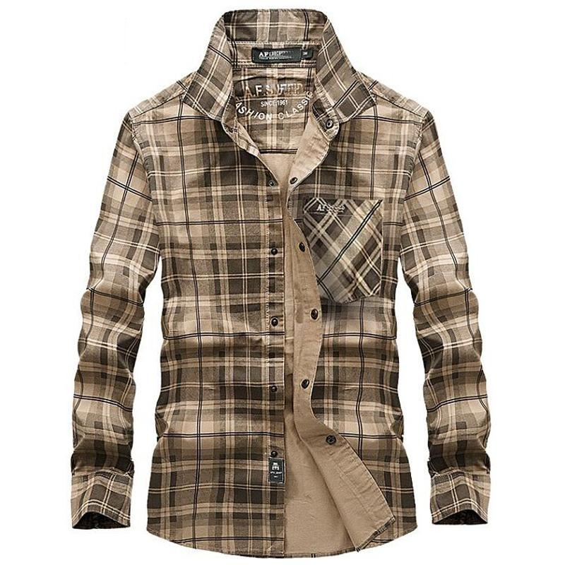 100% Cotton Plaid Shirt Men Casual Long Sleeve Shirt Spring Autumn Clothes Mens Turn-down Collar Brand Shirts Camisa Masculina