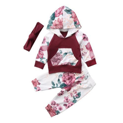 84b516f19704 2019 Newborn Baby Girls Kids Hooded Tops Shirt+Long Pants Outfits ...